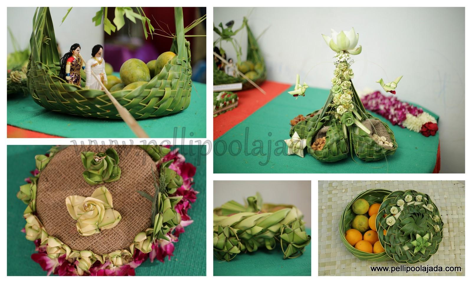 Telugu bride with kobbari bondam pelli poola jada coconut leaf baskets and trays for wedding packing and trousseau packing junglespirit Gallery