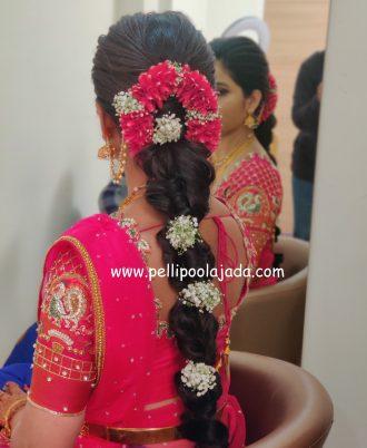 Rose petals and Baby Breath floral Veni Tirupati